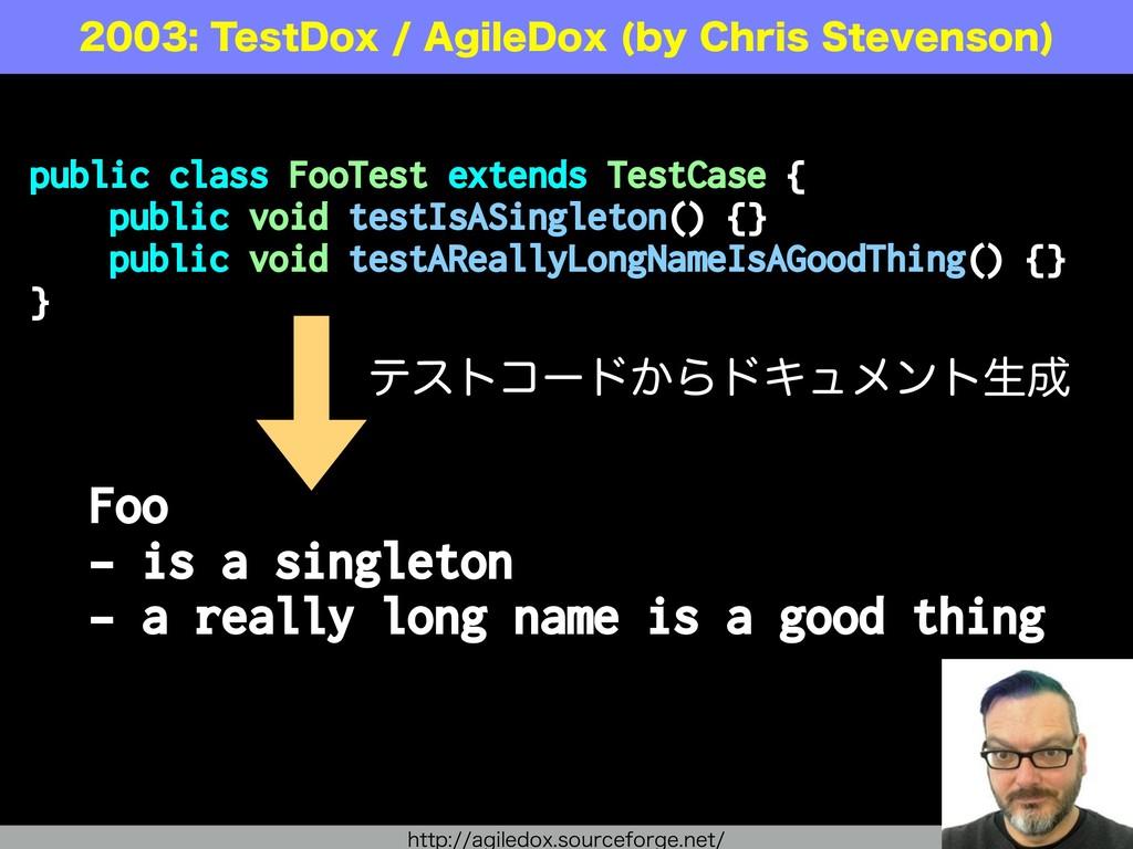 public class FooTest extends TestCase { public ...