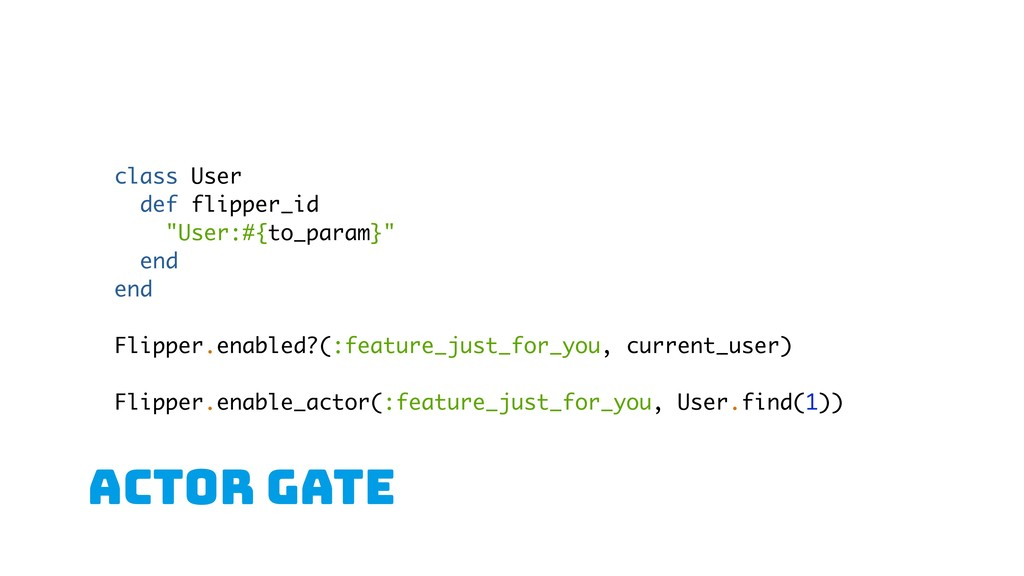 "aCTOR gate class User def flipper_id ""User:#{to..."