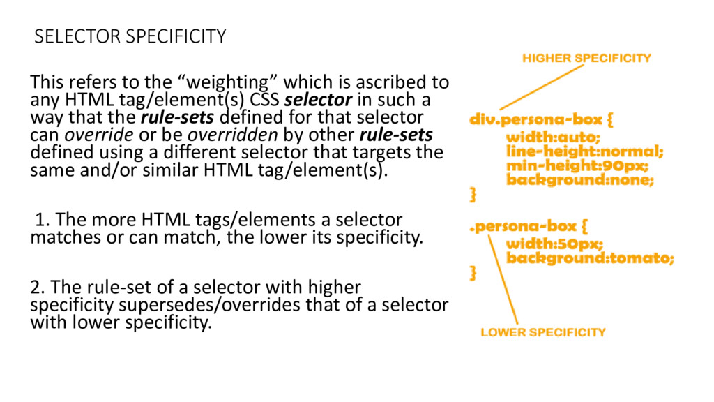 SELECTOR SPECIFICITY This refers to the eighti ...