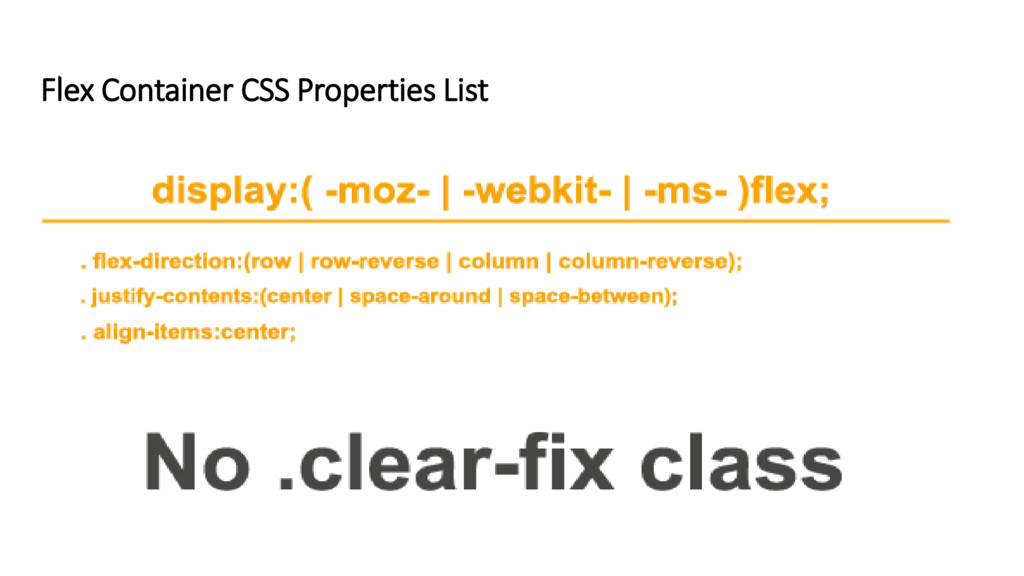 Flex Container CSS Properties List