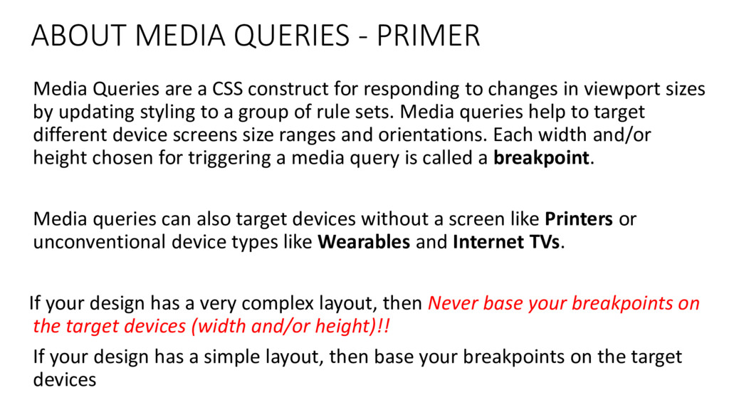 ABOUT MEDIA QUERIES - PRIMER Media Queries are ...