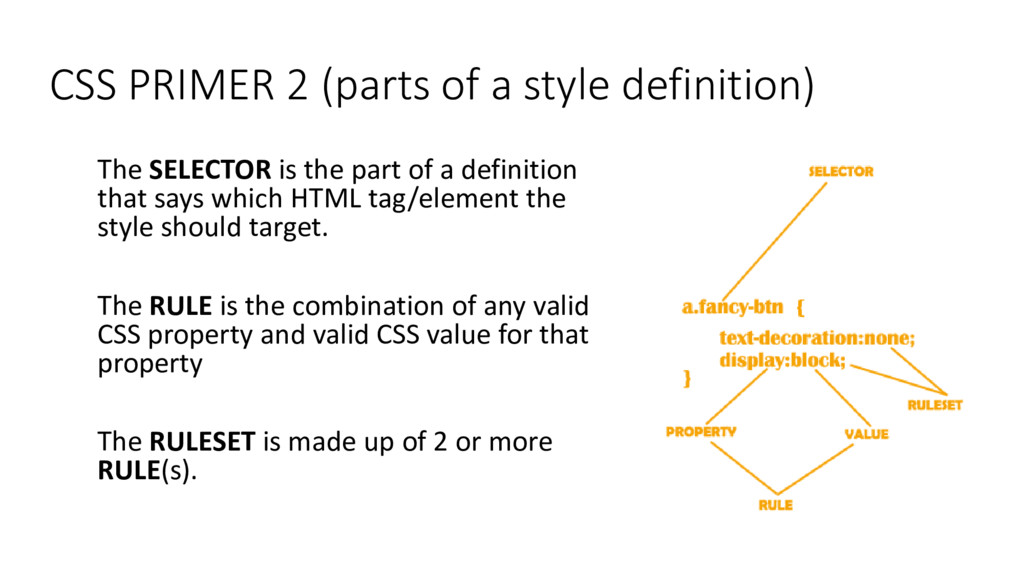CSS PRIMER 2 (parts of a style definition) The ...