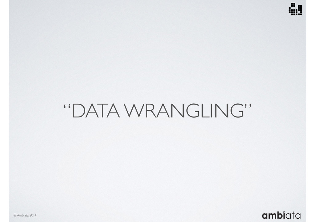 """DATA WRANGLING"" © Ambiata 2014"
