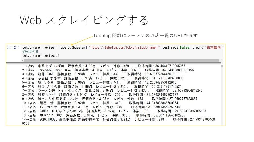 Web スクレイピングする Tabelog 関数にラーメンのお店一覧のURLを渡す