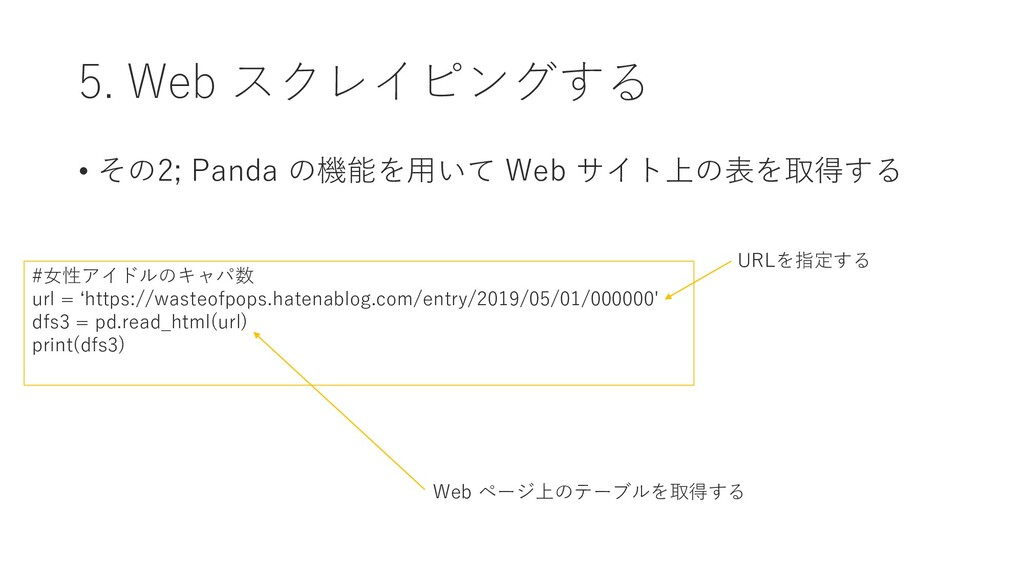 5. Web スクレイピングする • その2; Panda の機能を用いて Web サイト上の...