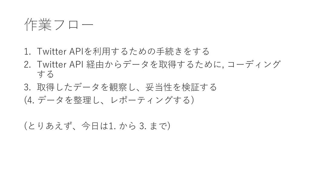 作業フロー 1. Twitter APIを利用するための手続きをする 2. Twitter A...