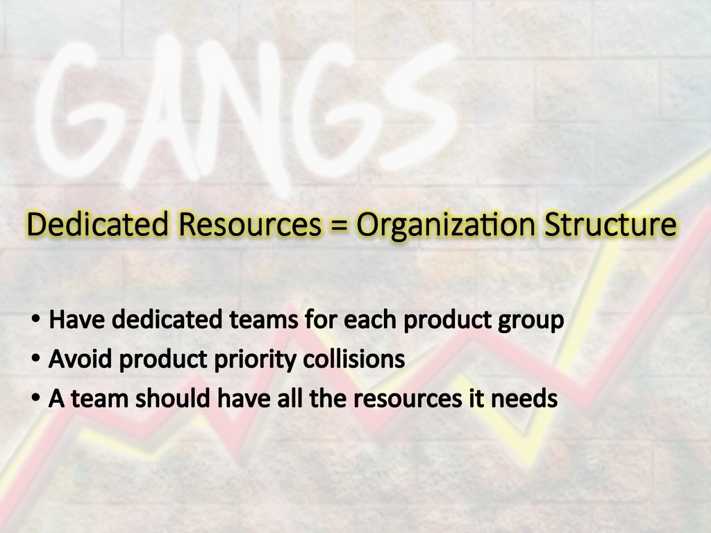 Dedicated Resources = Organiza/on Structure
