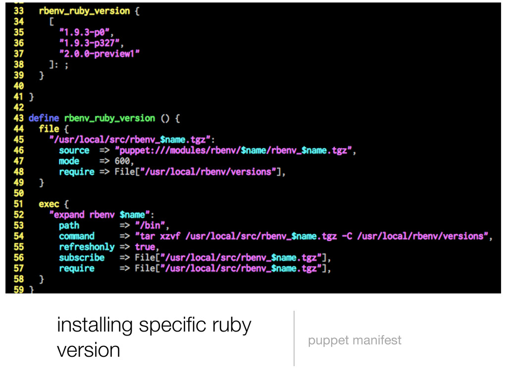 installing specific ruby version puppet manifest