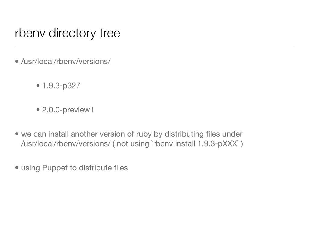 rbenv directory tree • /usr/local/rbenv/version...