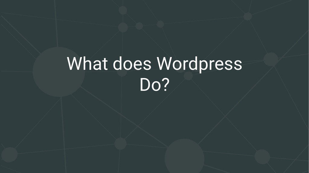 What does Wordpress Do?
