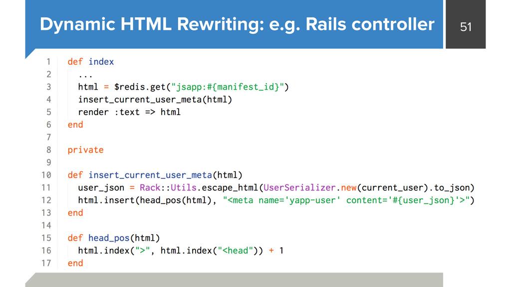 51 Dynamic HTML Rewriting: e.g. Rails controller