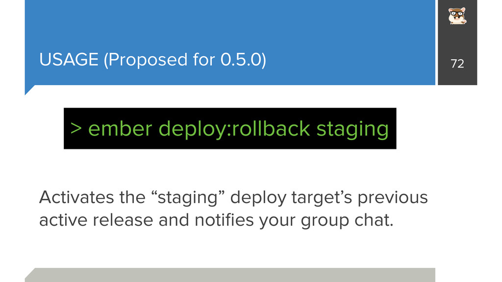 """USAGE (Proposed for 0.5.0) Activates the """"stagi..."""
