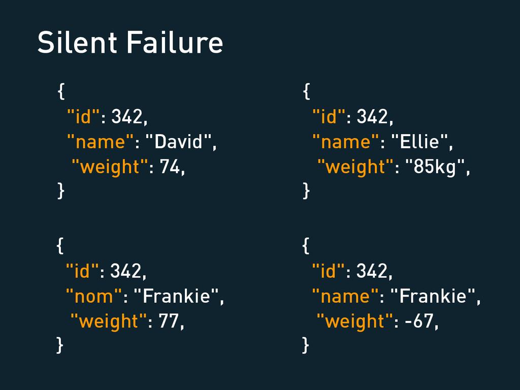 "Silent Failure { ""id"": 342, ""name"": ""David"", ""w..."
