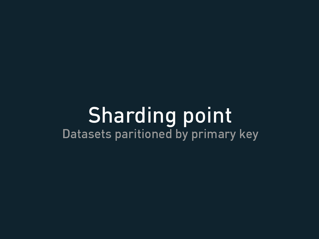 Sharding point Datasets paritioned by primary k...