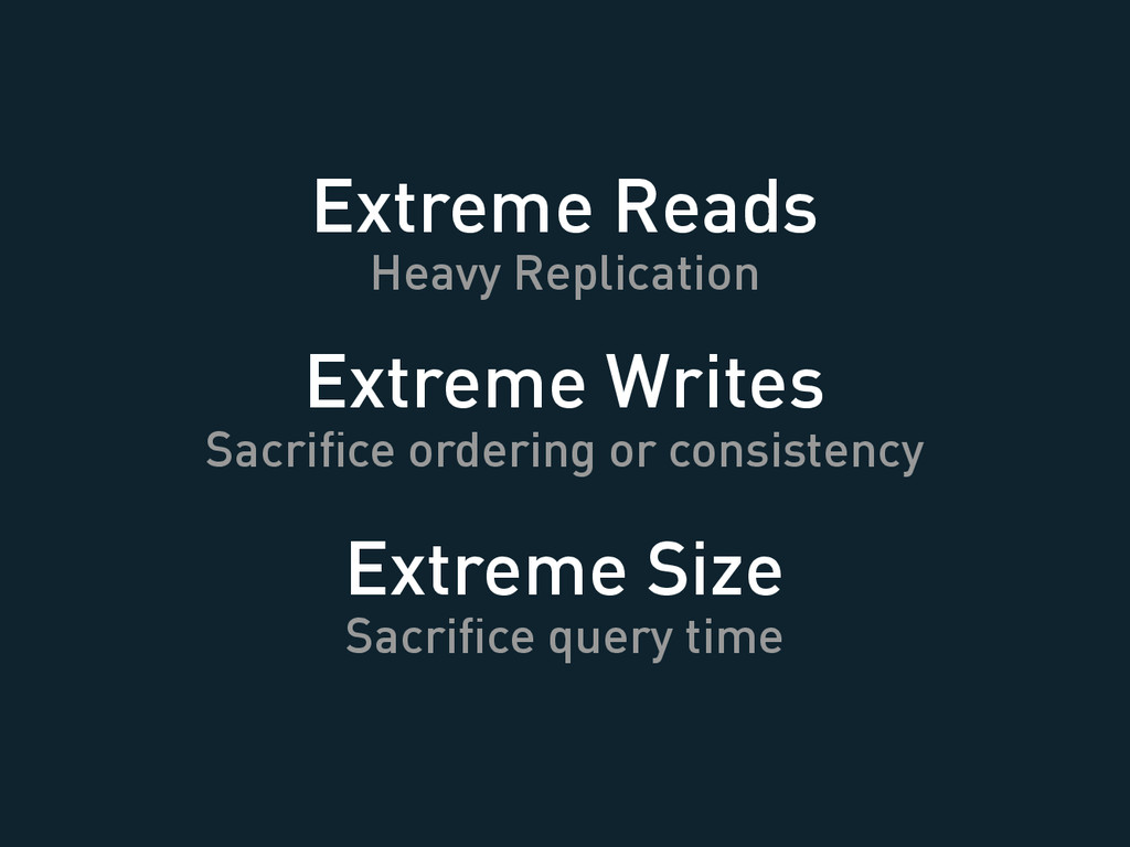 Extreme Reads Heavy Replication Extreme Writes ...