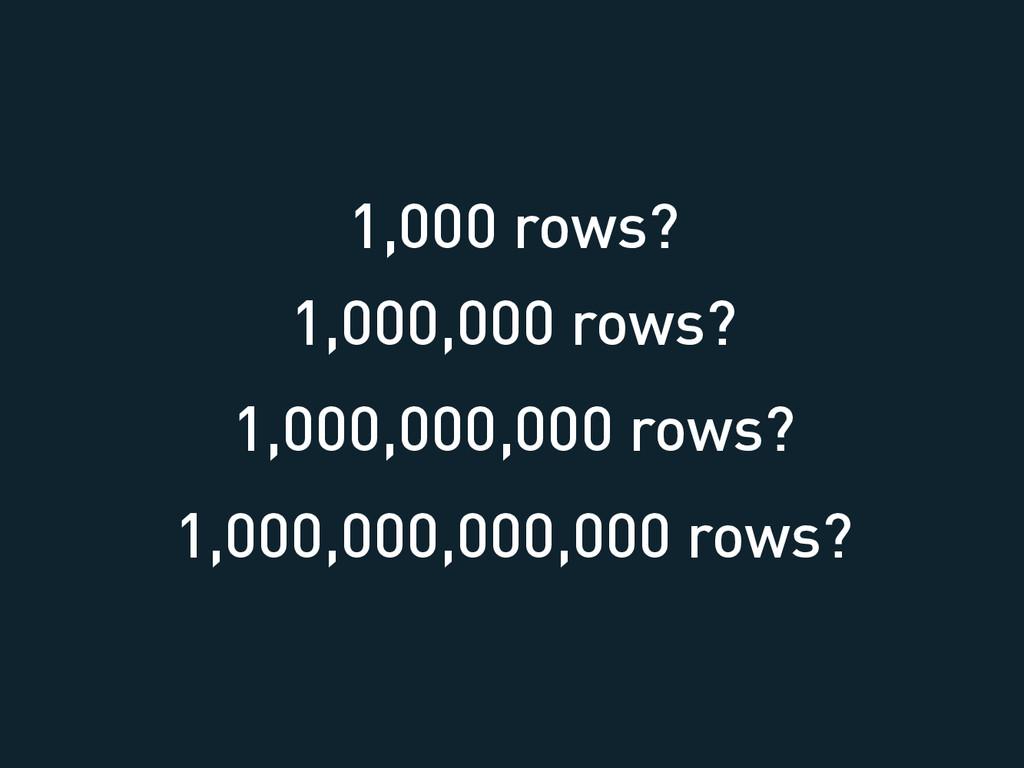 1,000 rows? 1,000,000 rows? 1,000,000,000 rows?...