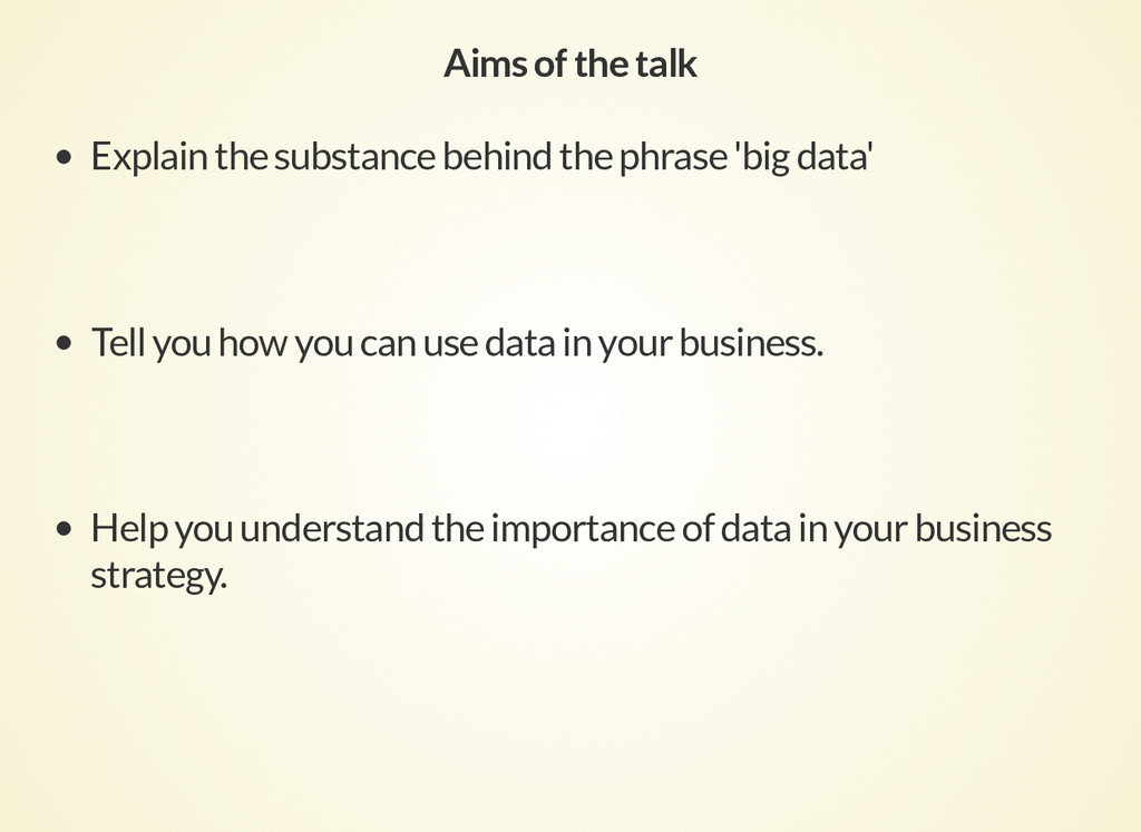 Aims of the talk Explain the substance behind t...