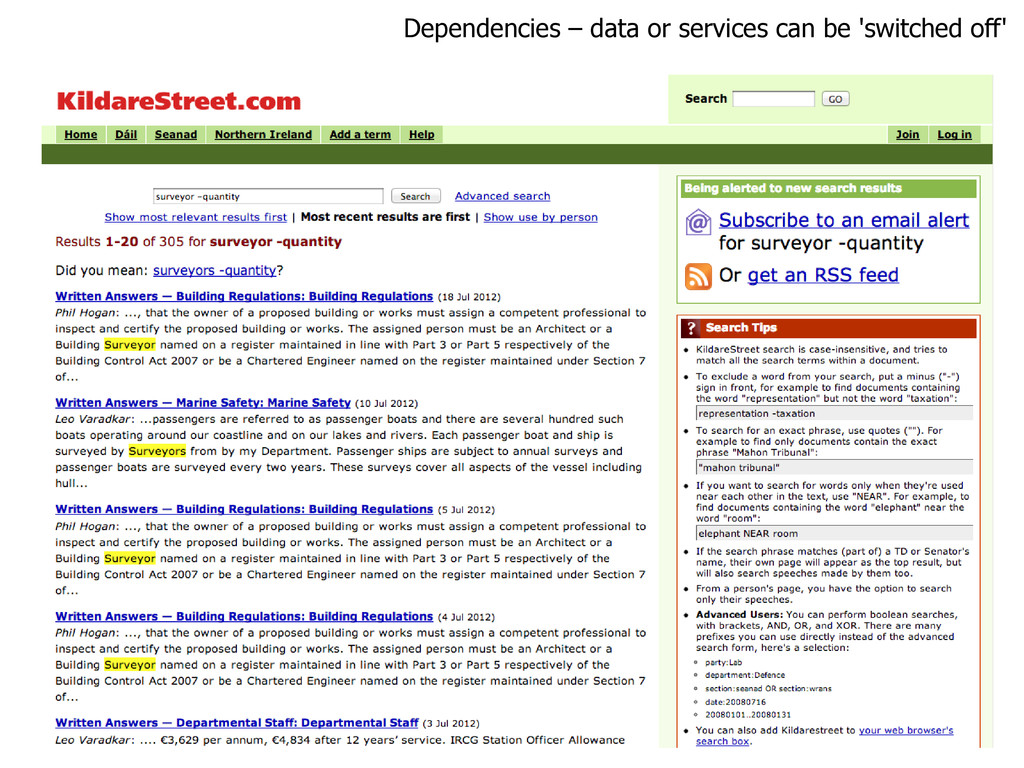 Dependencies – data or services can be 'switche...