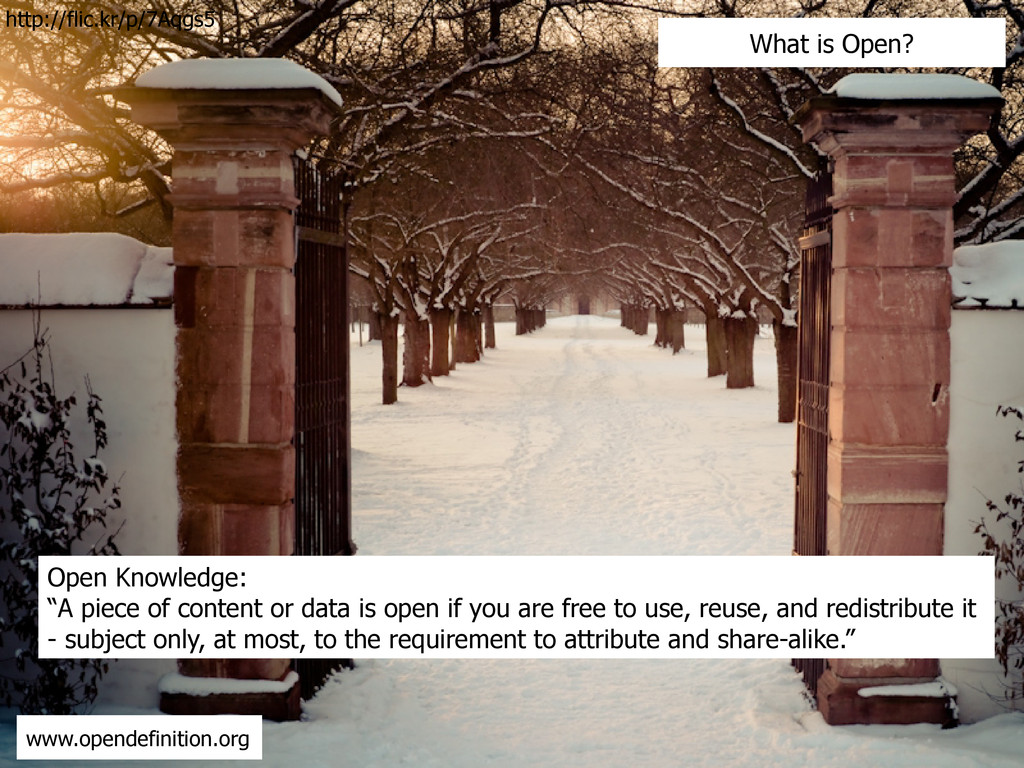 "Open Knowledge: ""A piece of content or data is ..."