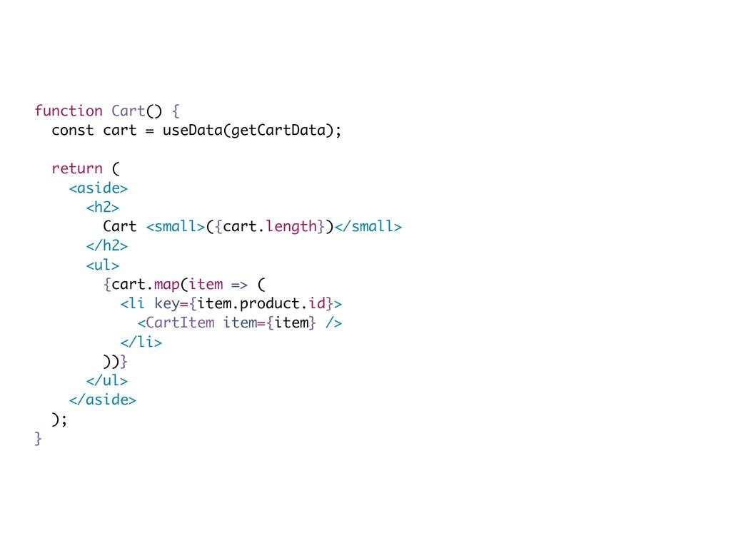 function Cart() { const cart = useData(getCartD...