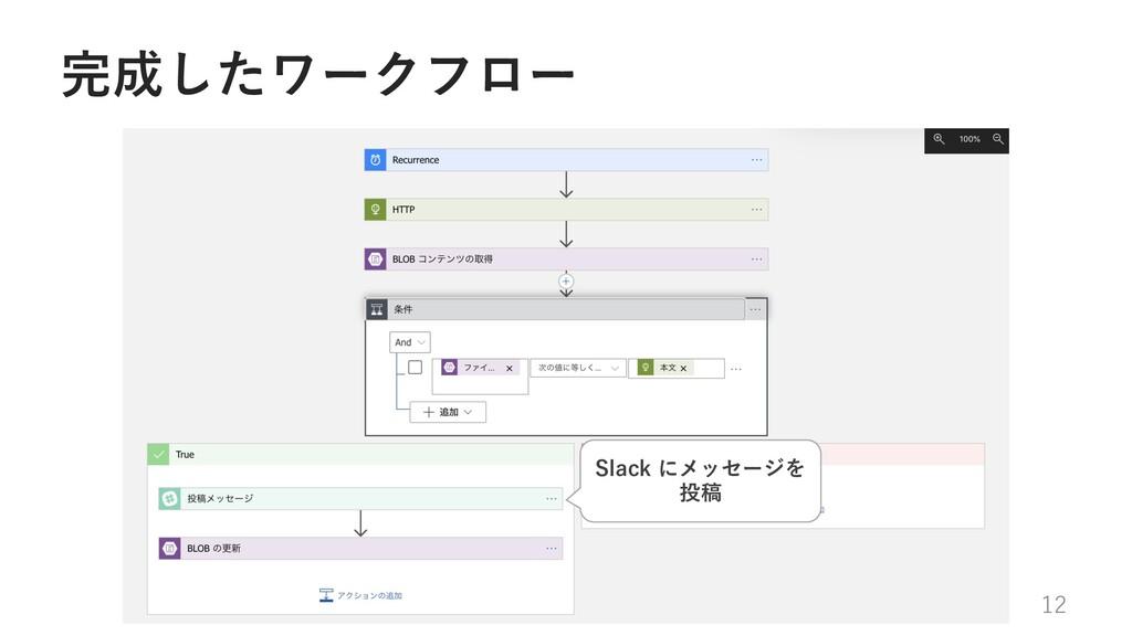 完成したワークフロー 12 Slack にメッセージを 投稿