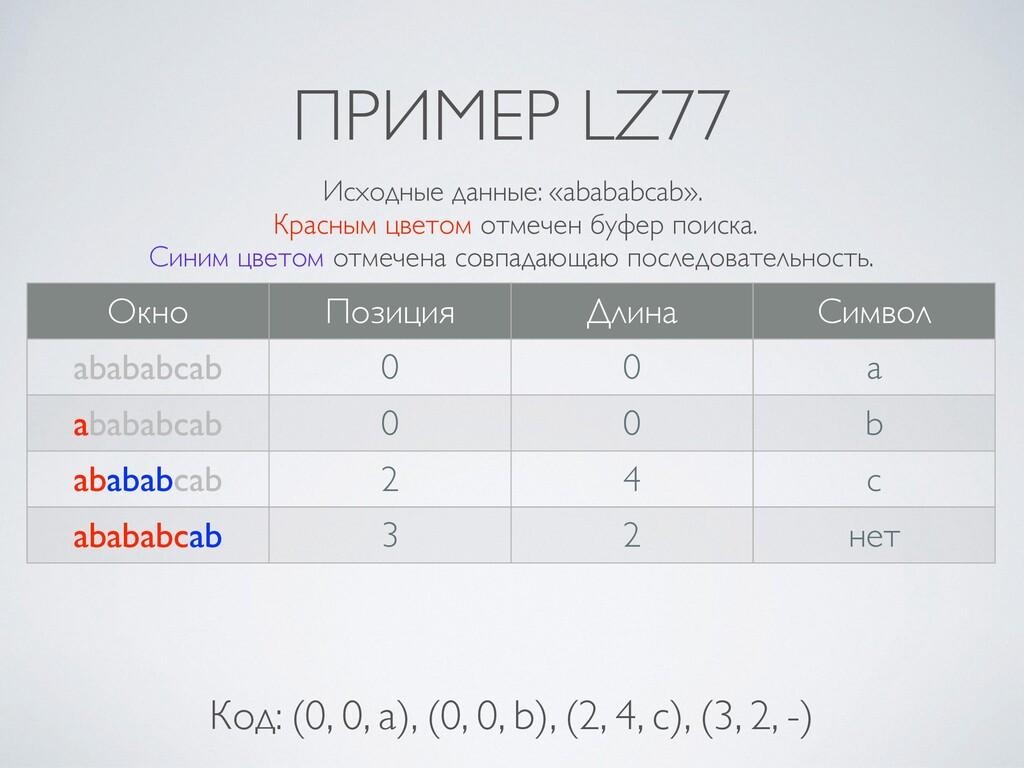 ПРИМЕР LZ77 Окно Позиция Длина Символ abababcab...