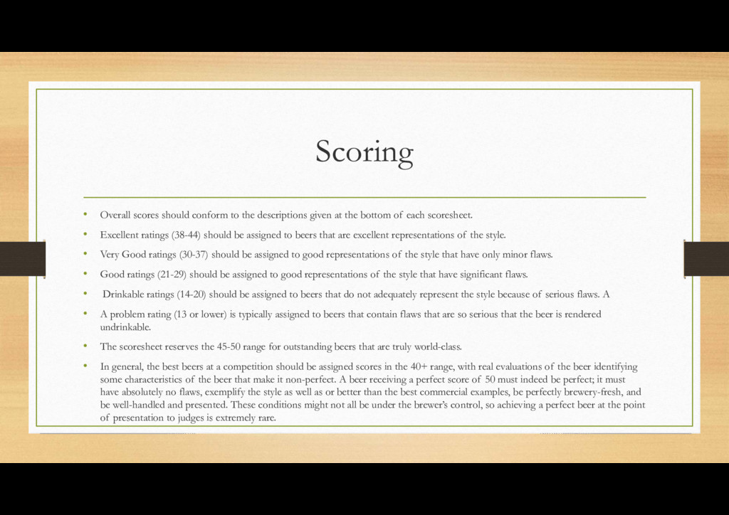 Scoring • Overall scores should conform to the ...