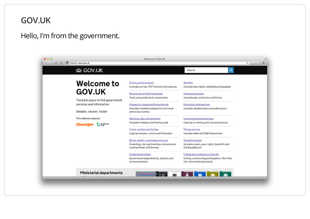 GOV.UK Hello, I'm from the government.