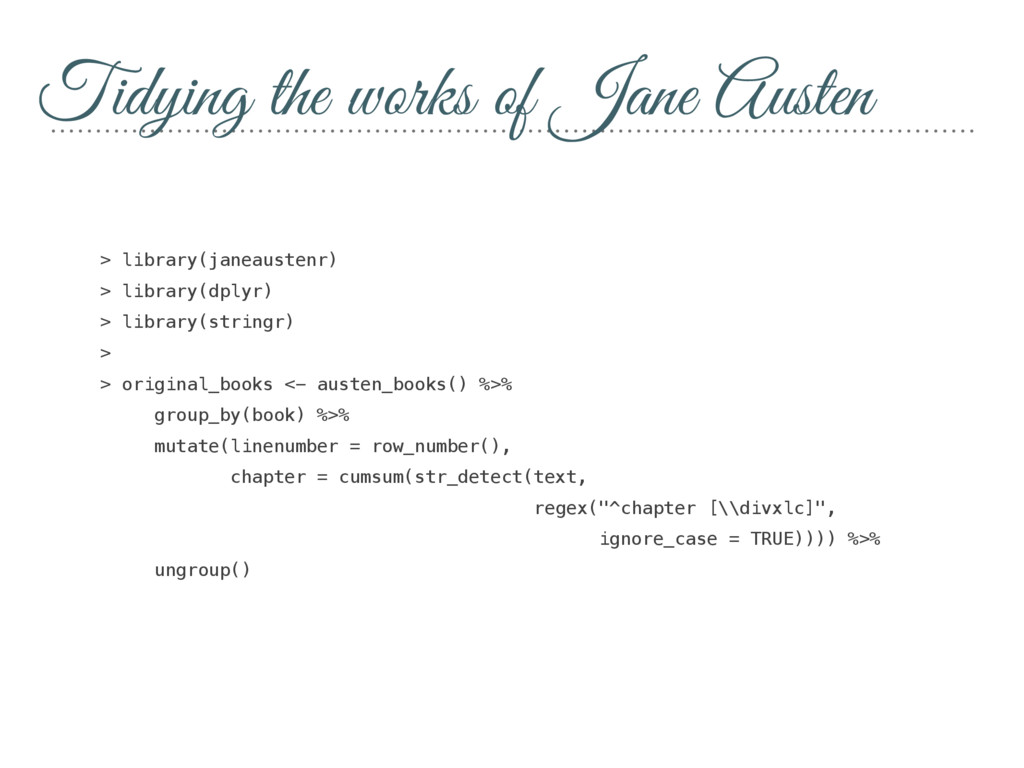 Tidying the works of Jane Austen > library(jane...