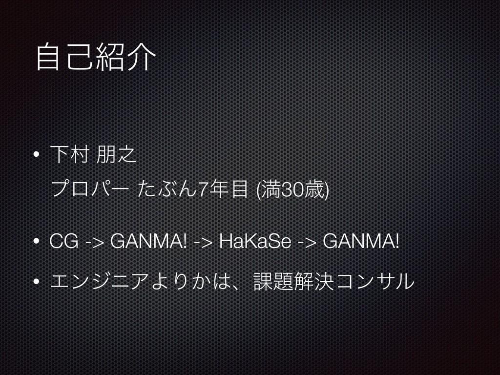 ࣗݾհ • Լଜ ๎೭ ϓϩύʔ ͨͿΜ7 (ຬ30ࡀ) • CG -> GANMA!...