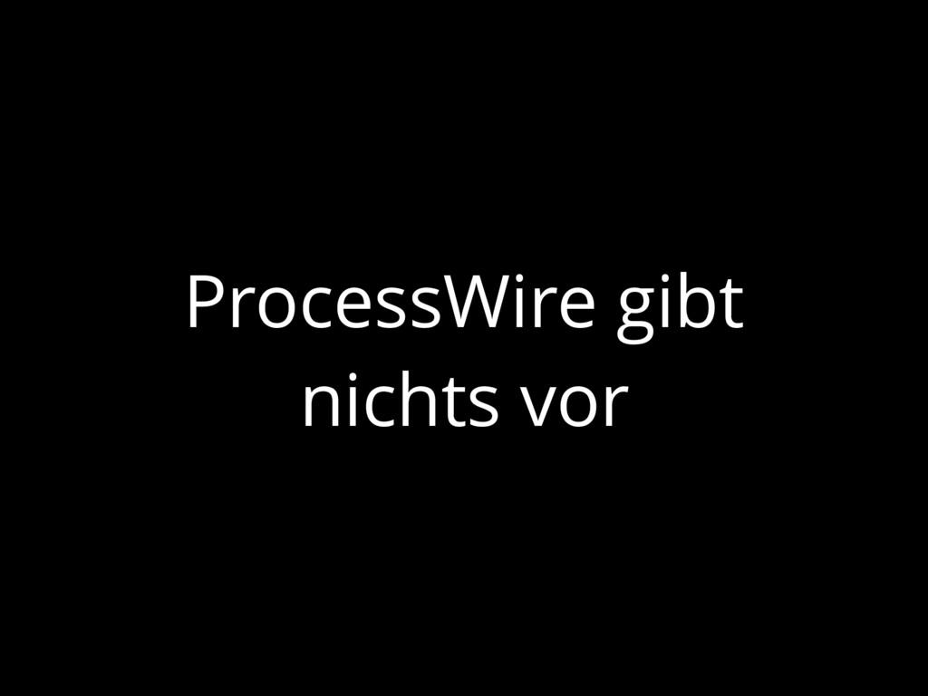 ProcessWire gibt nichts vor