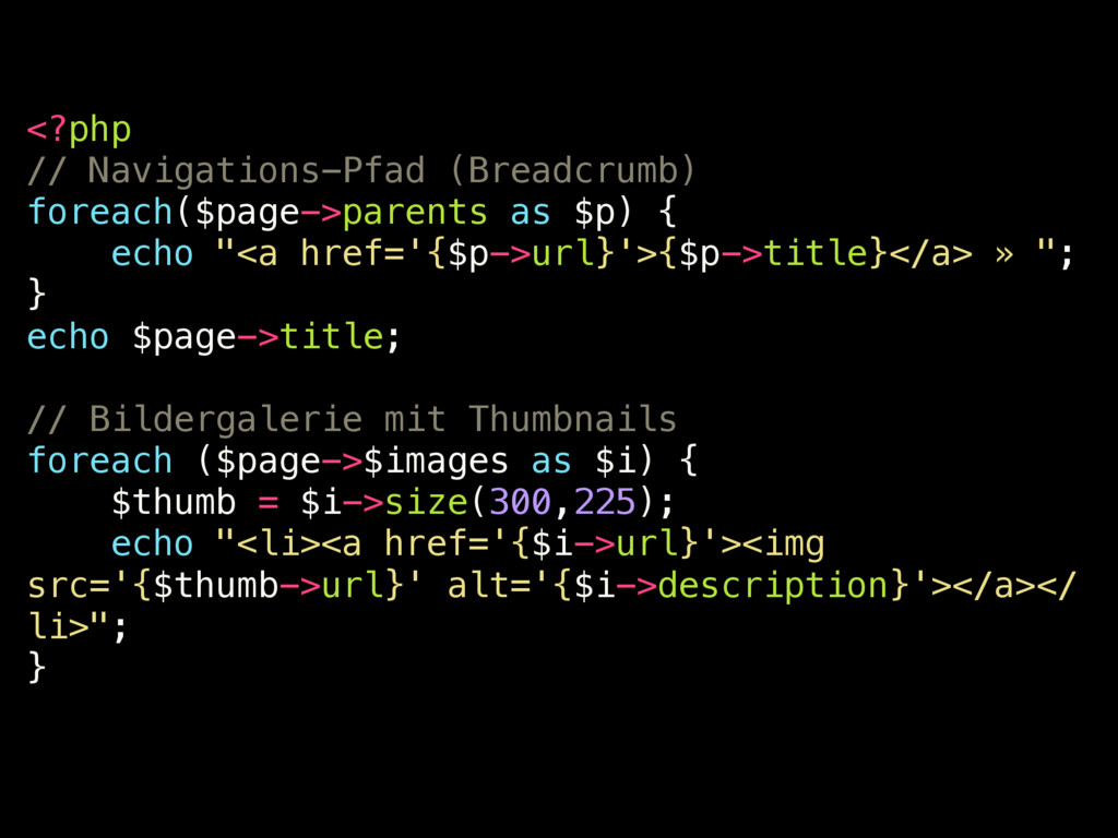 <?php // Navigations-Pfad (Breadcrumb) foreach(...