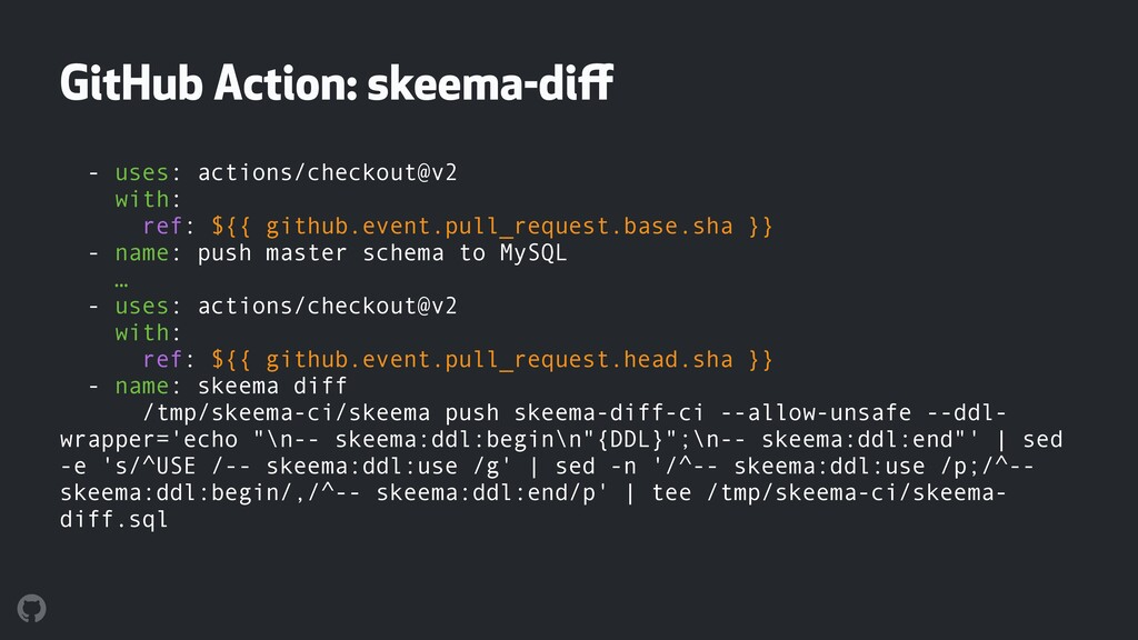 GitHub Action: skeema-diff - uses: actions/check...