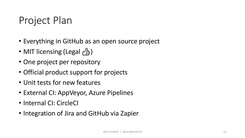 Project Plan • Everything in GitHub as an open ...