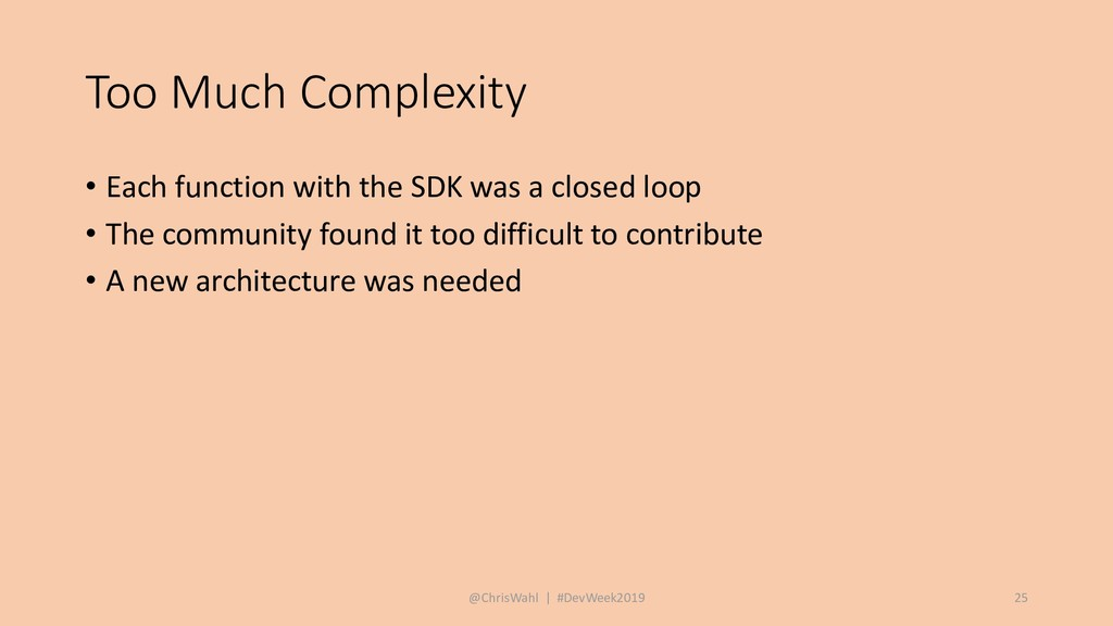Too Much Complexity • Each function with the SD...