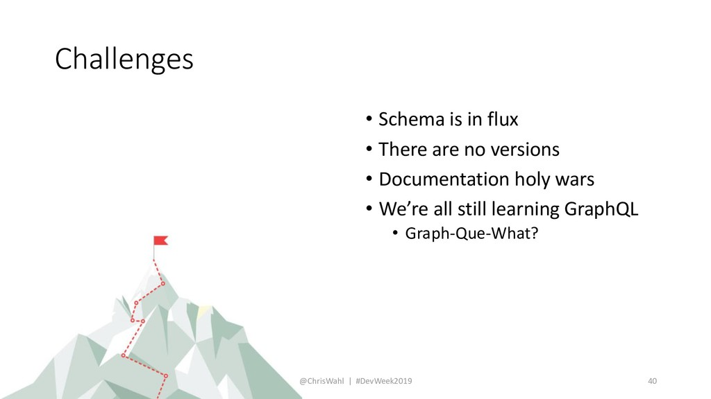 Challenges • Schema is in flux • There are no v...