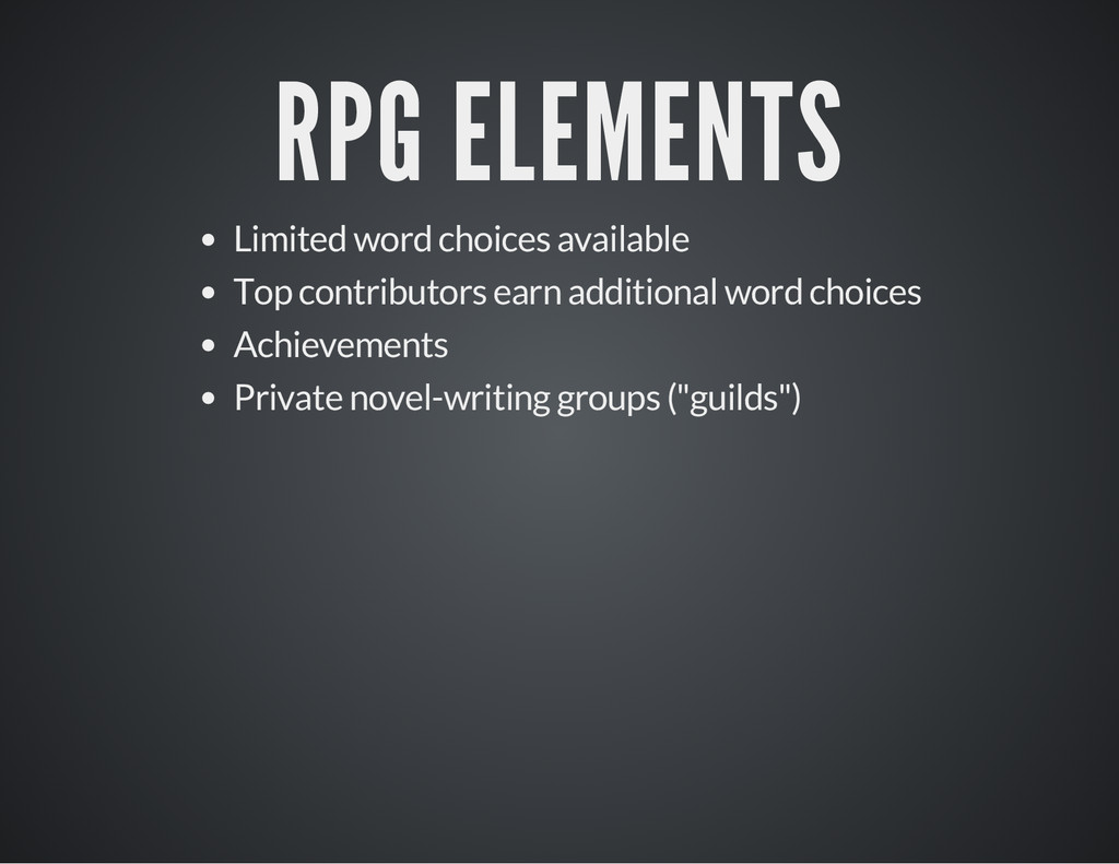 RPG ELEMENTS Limited word choices available Top...