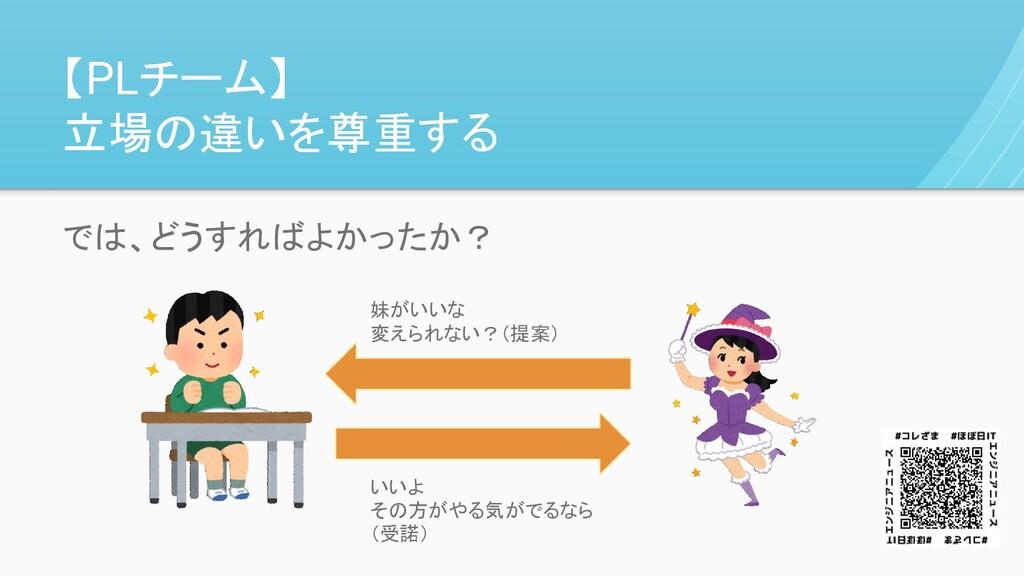 【PLチーム】 立場の違いを尊重する 妹がいいな 変えられない?(提案) では、どうすればよか...