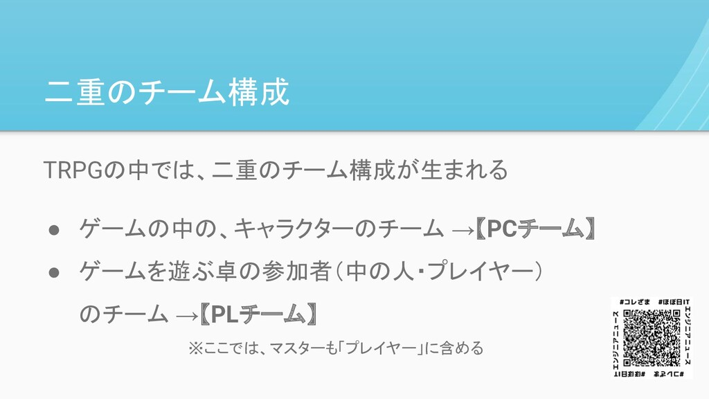 TRPGの中では、二重のチーム構成が生まれる ● ゲームの中の、キャラクターのチーム →【PC...