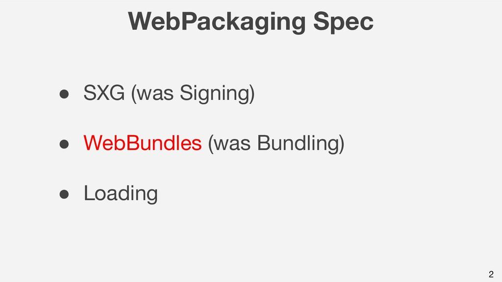 WebPackaging Spec ● SXG (was Signing) ● WebBund...