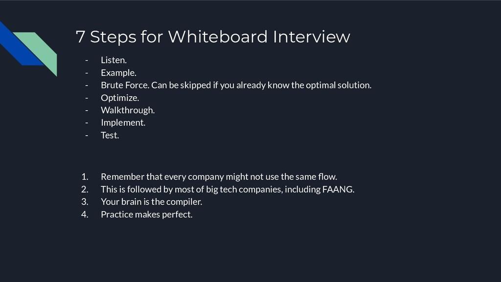 7 Steps for Whiteboard Interview - Listen. - Ex...