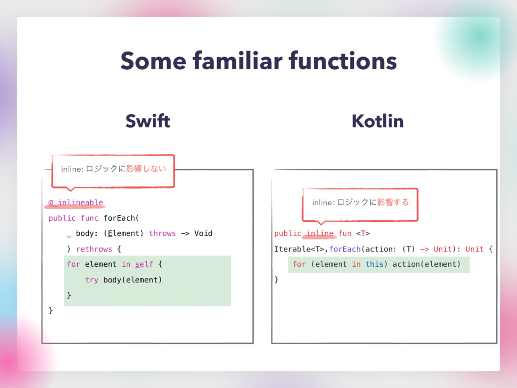 Some familiar functions Swift Kotlin @_inlineab...