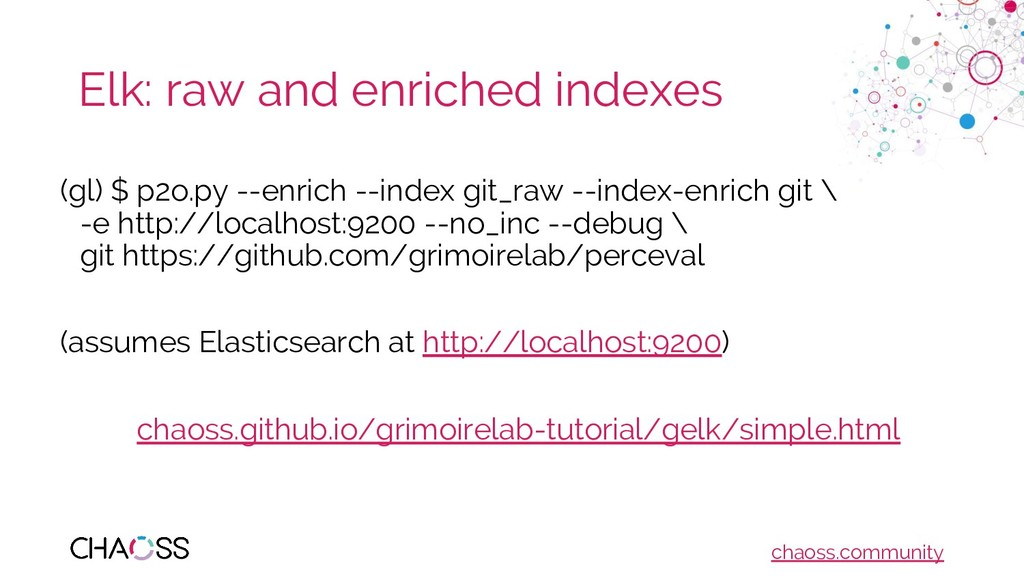 chaoss.community Elk: raw and enriched indexes ...