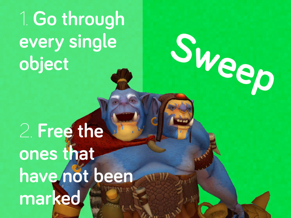 Sweep 1. Go throu h every sin le object 2. Free...