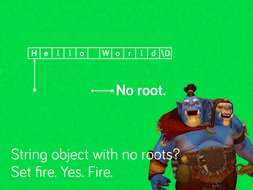 No root. H e l l o W o r l d \0 Strin object wi...