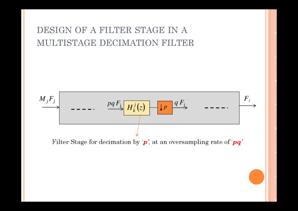 DESIGN OF A FILTER STAGE IN A MULTISTAGE DECIMA...