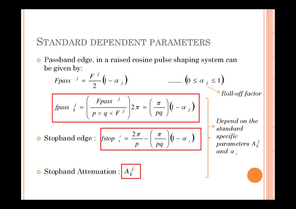 STANDARD DEPENDENT PARAMETERS P b d d i i d i l...