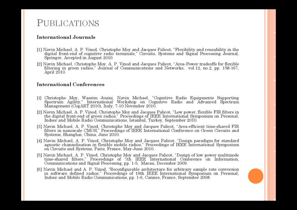 PUBLICATIONS International Journals [1] Navin M...