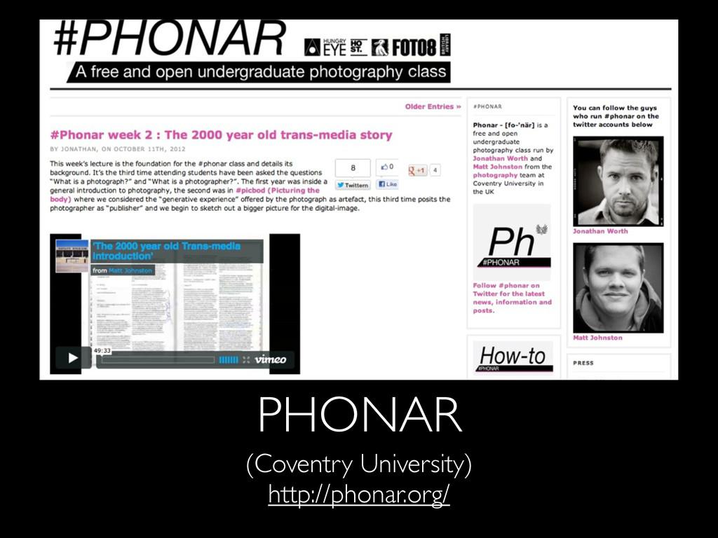 PHONAR (Coventry University) http://phonar.org/