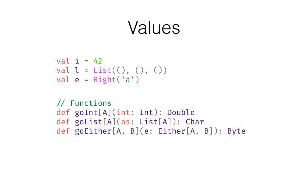 Values val i = 42 val l = List((), (), ()) val ...